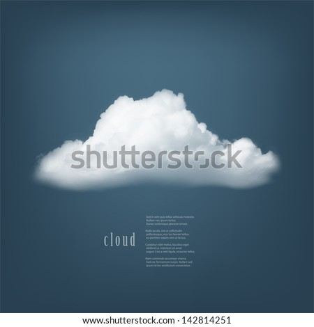 Vector cloud on blue background.