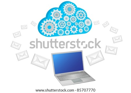 vector cloud sending email with laptop