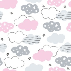 Vector clouds and stars seamless pattern. Cute clouds for trendy baby clothes and textiles. Children's pattern.