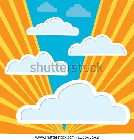 vector clouds background with sun rays. vector abstract background.