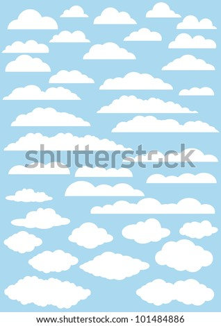 vector clouds collection. 37cute clouds