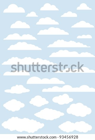 vector clouds collection. twenty seven cute clouds