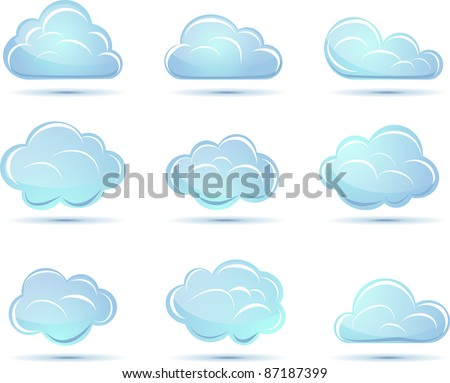 Vector clouds collection. Weathe icon for design.
