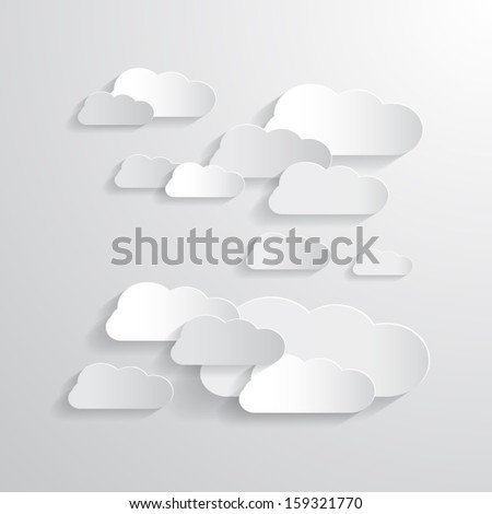 vector clouds cut from paper