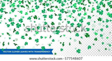 Vector clover leaves pattern background  for Irish Saint Patrick's Day. Transparent vector shamrock background