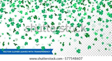 Vector clover leaves pattern background  for Irish Saint Patrick's Day. Transparent vector shamrock background