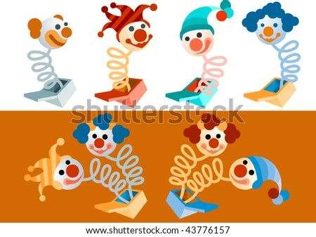 vector clowns popping out of boxes - stock vector