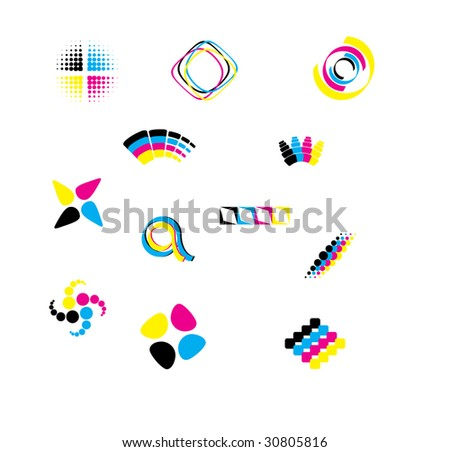 Vector cmyk design elements