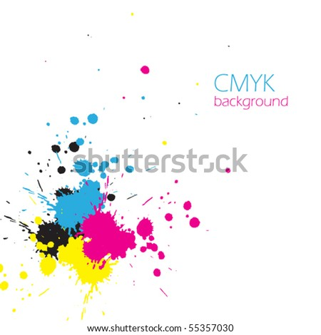 Vector CMYK ink splashes
