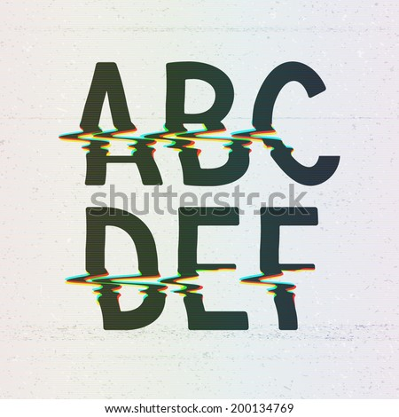 Vector CMYK Print Distortion Glitch Font from A to F