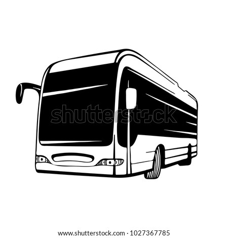 Vector coach bus hand drawn illustration. Bus logo and icon. Isolated vector vehicle.
