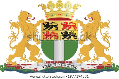 Vector coat of arms illustration of the Dutch regional capital city of Rotterdam, Netherlands Stockfoto ©