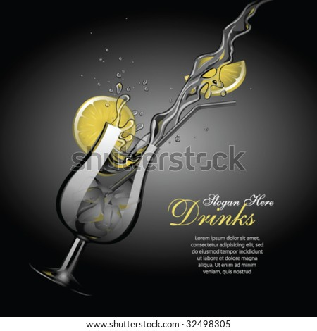 Vector cocktail template 2, with copy space