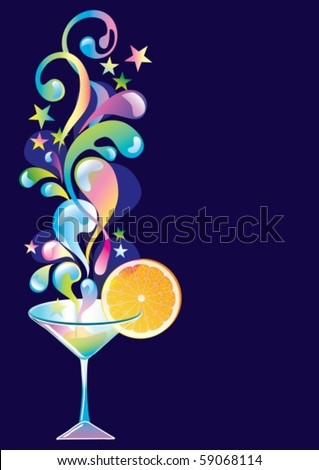 Vector cocktail with orange and splash