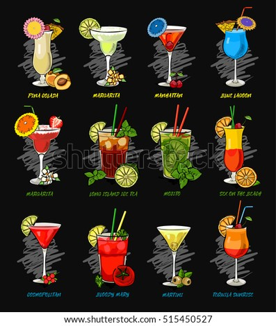 vector cocktails set isolated