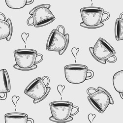 Vector coffe cup or tea cup engraving seamless pattern on light background. Vintage hand drawn bages set. Illustration for menu, ads