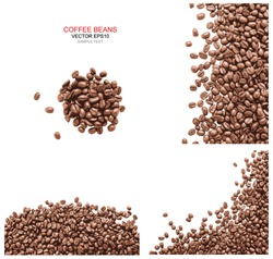 Vector coffee beans background collection with white area for copy space.
