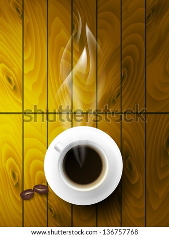 Vector coffee cup against wooden background.