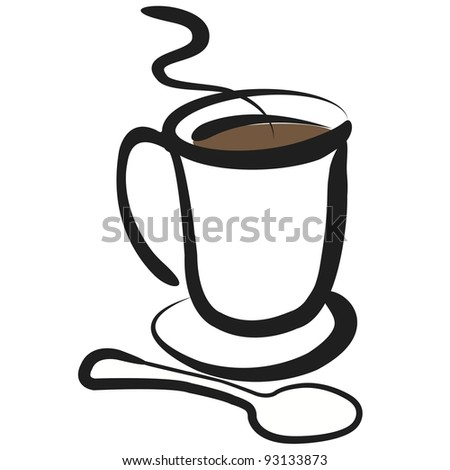 Coffee Spoon Drawing Cup of Coffee With Spoon