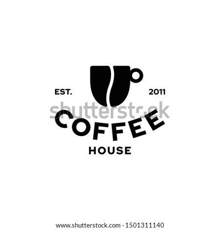 Vector coffee house logo design template. Bean and cup icon symbol. Creative seed mug logotype. Caffeine grain label illustration background