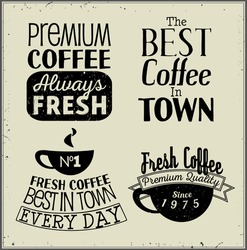 Vector Coffee labels. Font compositions.