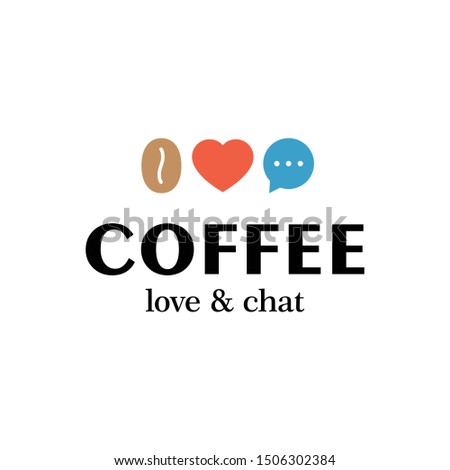 Vector coffee logo design template. Caffeine bean icon symbol. Modern heart, love and chat illustration logotype for cafe