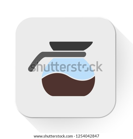 vector coffee pot icon. Flat illustration of coffee drink. coffee kettle isolated on white background. hot drink sign symbol