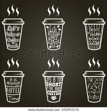 vector coffee quote lettering
