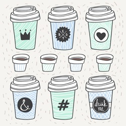 Vector coffee set. Plastic and paper coffee and tea cups. Coffee to go. Take away.