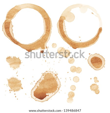 Vector coffee stain on white background.