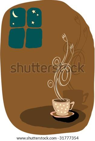 Vector coffee stylized, artistic illustration