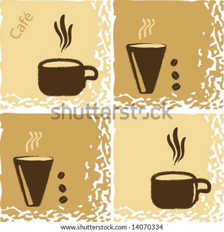 Vector Coffeehouse Design Wallpaper - stock vector