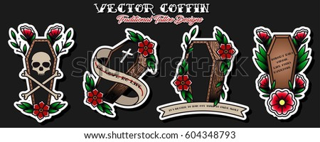 Vector Coffins Traditional Tattoo Designs Traditional Tattoo Ideas Stickers