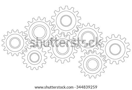 vector cog wheel gear mechanism