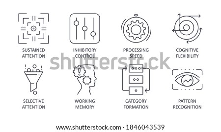Vector cognitive skills icons. Editable stroke set. Inhibitory control sustained attention processing speed cognitive flexibility. Selective attention working memory category formation pattern recogni
