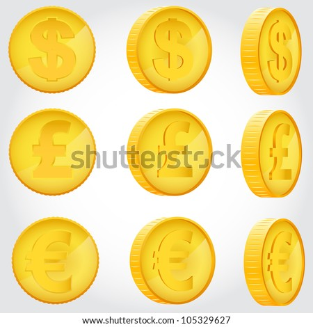 vector coin rotation dollar euro pound sterling gold