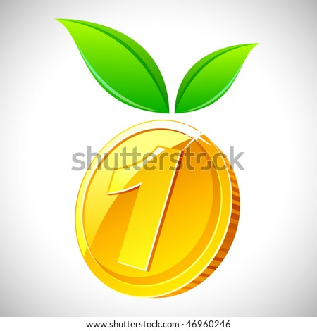 Vector coin with leafs