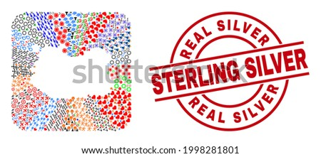 Vector collage Ciudad Real Province map of different symbols and Real Silver Sterling Silver seal. Collage Ciudad Real Province map created as subtraction from rounded square. Foto stock ©
