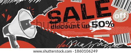 Vector collage grunge banner. Loudspeaker announcing crazy promotions. Doodle elements on retro poster. Stylish modern advertising poster design with red and black and white elements.