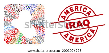 Vector collage Iraq map of different pictograms and America Iraq seal stamp. Collage Iraq map created as stencil from rounded square shape. Red round imprint with America Iraq word.
