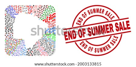 Vector collage Mato Grosso do Sul State map of different icons and End of Summer Sale seal stamp. Mosaic Mato Grosso do Sul State map designed as stencil from rounded square shape. Foto stock ©