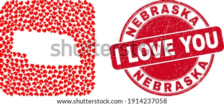 Vector collage Nebraska State map of love heart items and grunge love badge. Collage geographic Nebraska State map designed as subtraction from rounded square shape with love hearts. Photo stock ©