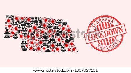 Vector collage Nebraska State map of SARS virus, masked men and red grunge lockdown stamp. Virus particles and people in masks inside Nebraska State map. Photo stock ©