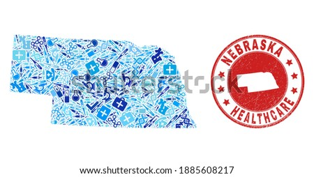 Vector collage Nebraska State map of vaccination icons, analysis symbols, and grunge health care stamp. Red round stamp with grunge rubber texture and Nebraska State map text and map. Photo stock ©