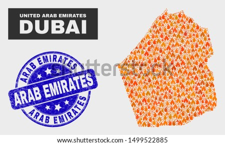 Vector collage of fire Dubai Emirate map and blue round scratched Arab Emirates seal. Orange Dubai Emirate map mosaic of fire items. Vector combination for emergency services,