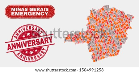 Vector collage of firestorm Minas Gerais State map and red round textured Anniversary seal. Emergency Minas Gerais State map mosaic of wildfire, energy shock icons.