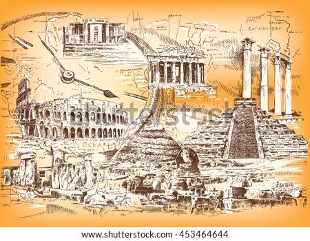 Vector collage of graphic images of the ruins of ancient civilizations and ancient architecture of different peoples and eras.  ストックフォト ©