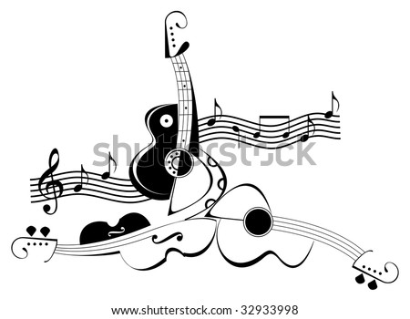 Vector collage of string musical instruments and music notes. Black and white isolated image on white background.