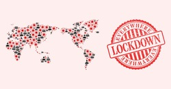 Vector collage world map of SARS virus, masked people and red grunge lockdown stamp. Virus particles and men in masks inside world map. Red stamp with grunge rubber texture and LOCKDOWN tag.