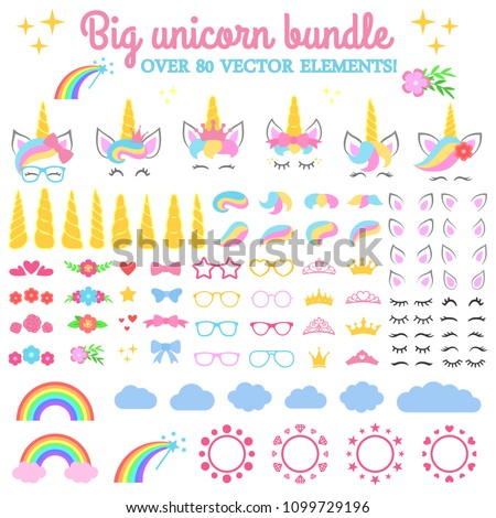 Vector collection - Big unicorn bundle. Create your own unicorn. Unicorn constructor - horhs, eyelashes, ears, hairstyles, flowers, crowns, glasses, bows, raibow, clouds and circle monograms